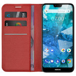 Leather Wallet Case & Card Holder Pouch for Nokia 7.1 - Red